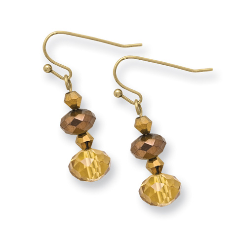 Brass-tone Light Colorado and Brown Crystal Dangle Earrings