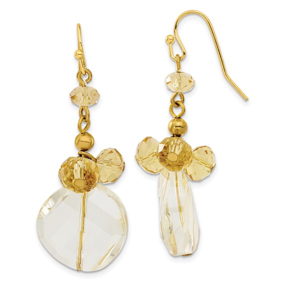 Gold-tone Light Colorado Crystal Dangle Earrings