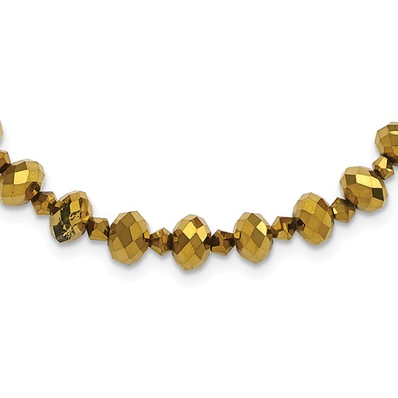 Brass-tone Light Colorado and Brown Crystal 16in Necklace