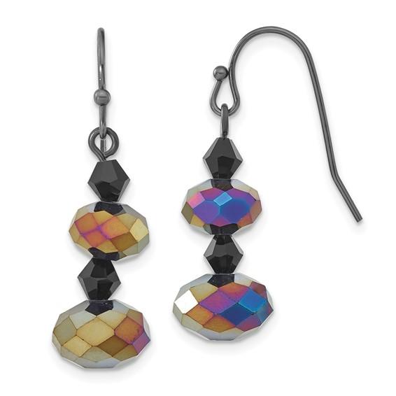 Black-plated Aurora Borealis Black Crystal Beaded Drop Earrings