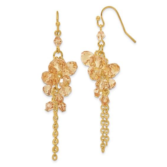 Gold-tone Light Colorado Crystal Dangle Earrings