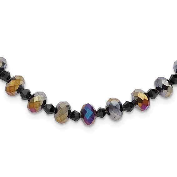 Black-plated Aurora Borealis Black Crystal 16in Necklace