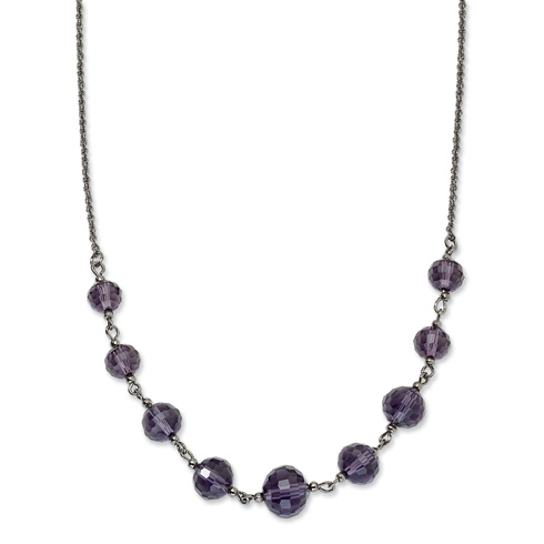 Black-plated Black Crystal Bead 16in Necklace