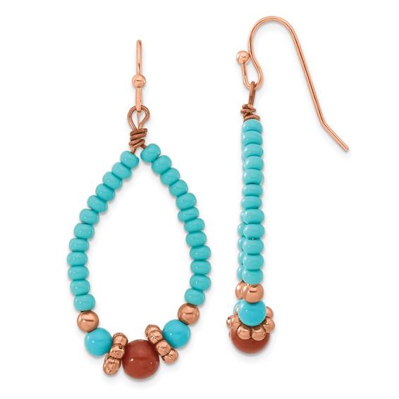 Copper-tone Aqua and Brown Beads Teardrop Dangle Earrings