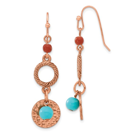 Copper-tone Aqua and Brown Beads Fancy Dangle Earrings