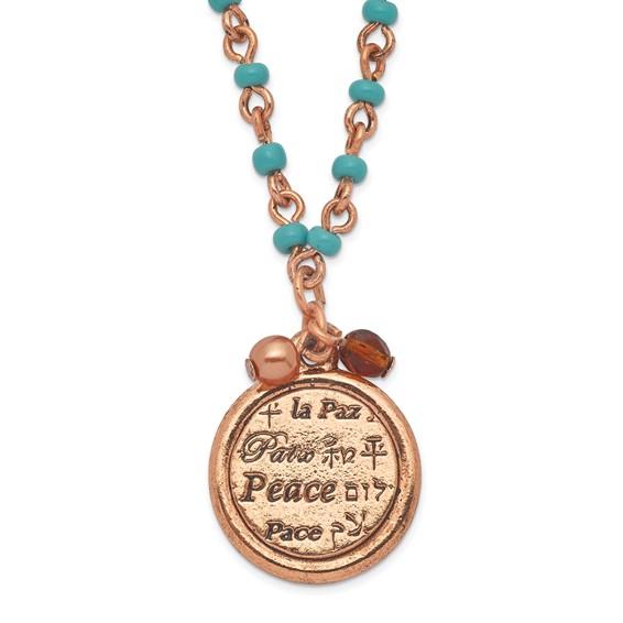 Copper-tone Aqua Beads Peace Pendant 16in Necklace