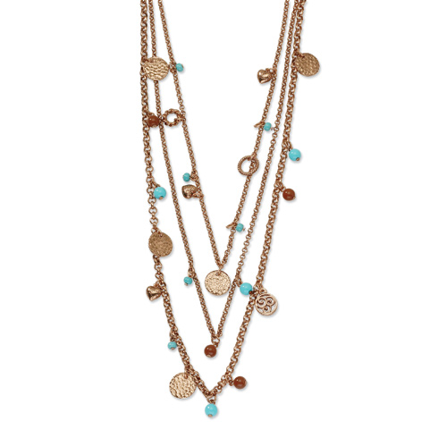 Copper-tone Aqua and Brown Beads Multistrand 24in Necklace