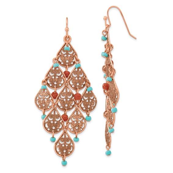 Copper-tone Aqua and Brown Beads Filigree Dangle Chandelier Earrings