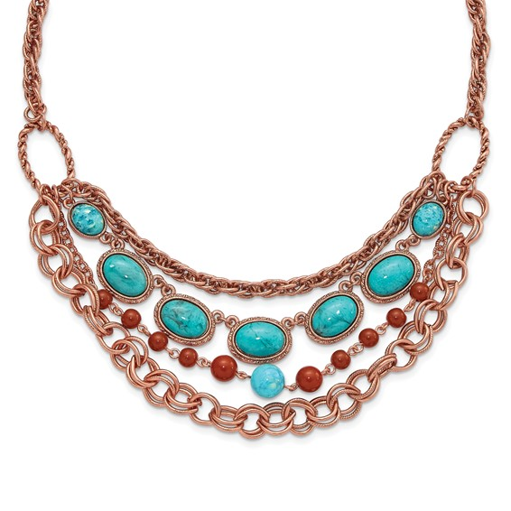 Copper-tone Aqua and Brown Beads Multistrand 16in Necklace