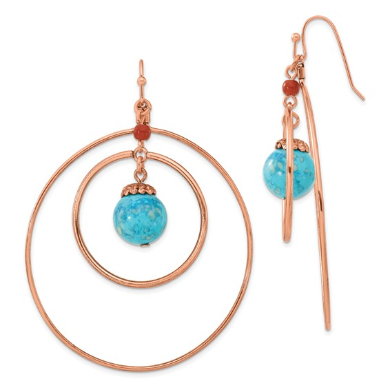 Copper-tone Aqua and Brown Beads Dangle Earrings