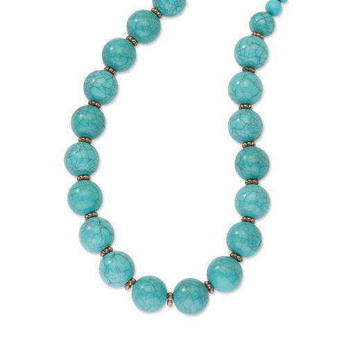 Copper-tone Aqua Beads 16in Necklace