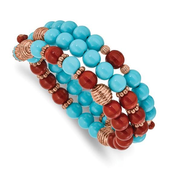 Copper-tone Aqua and Brown Beads Wrap Bracelet