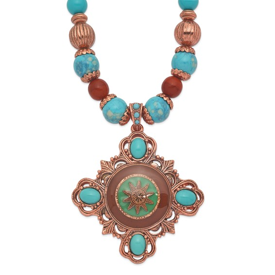 Copper-tone Aqua and Brown Beads Enameled 16in Necklace