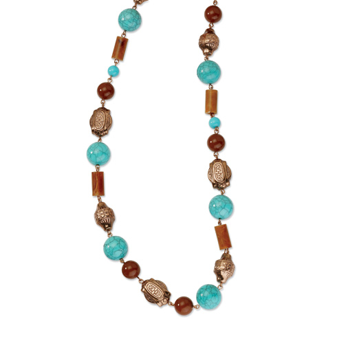 Copper-tone Aqua and Brown Beads 44in Necklace