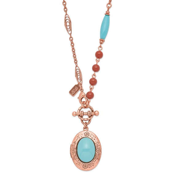 Copper-tone Aqua and Brown Beads 16in Locket Necklace