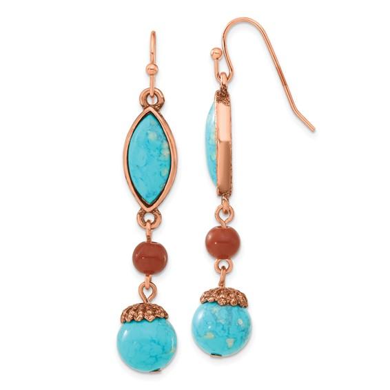 Copper-tone Aqua and Brown Beads Dangle Earrings