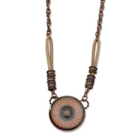 Copper-tone Orange Enamel Floral Design 16in Necklace