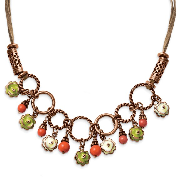 Copper-tone Green and Ivory Enamel Orange Beads 16in Necklace