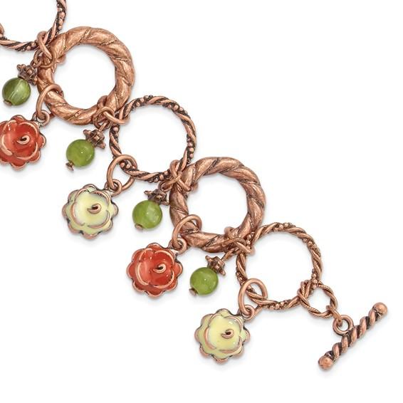 Copper-tone Orange and Ivory Enamel Green Beads 7in Bracelet