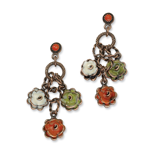 Copper-tone Green Orange and Ivory Enamel Flowers Post Earrings