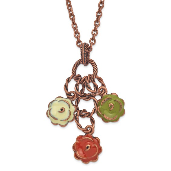 Copper-tone Green Orange and Ivory Enamel Flowers 16in Necklace