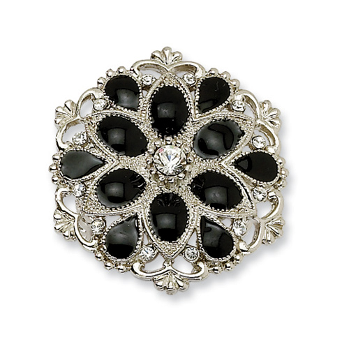 Silver-tone Black Enamel with Clear Crystals Stretch Ring