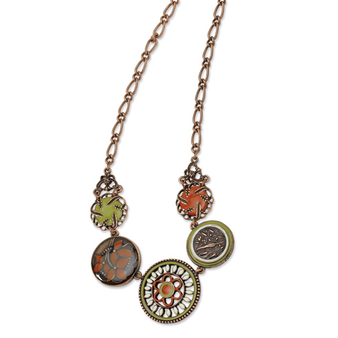 Copper-tone Green Orange and Ivory Enamel 16in Necklace