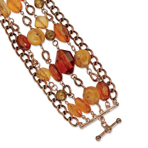 Copper-tone Multicolor Crystal 7.25in Bracelet