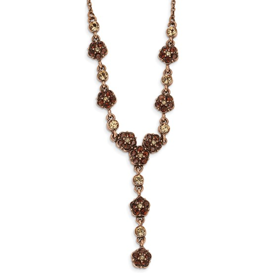 Copper-tone Light Colorado and Brown Crystal 15in with Ext Y Necklace