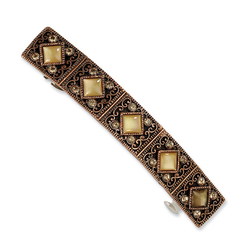 Copper-tone Light Colorado Crystal and Golden Mother of Pearl Barrette