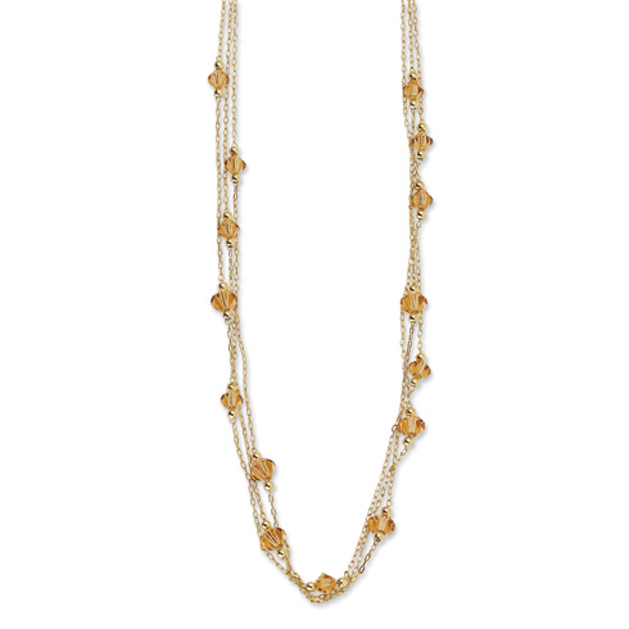Gold-tone Light Colorado Swarovski Crystal 16in Necklace