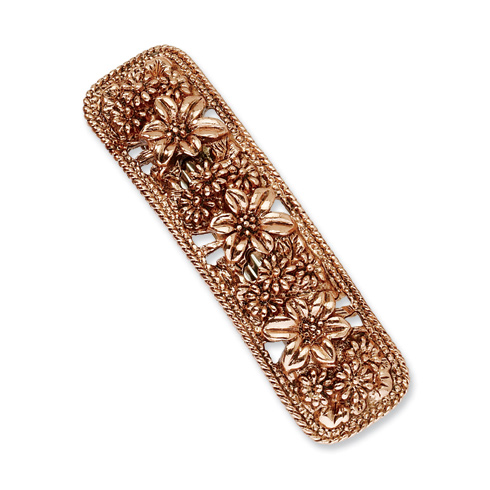 Copper-tone with Flowers Bar Barrette