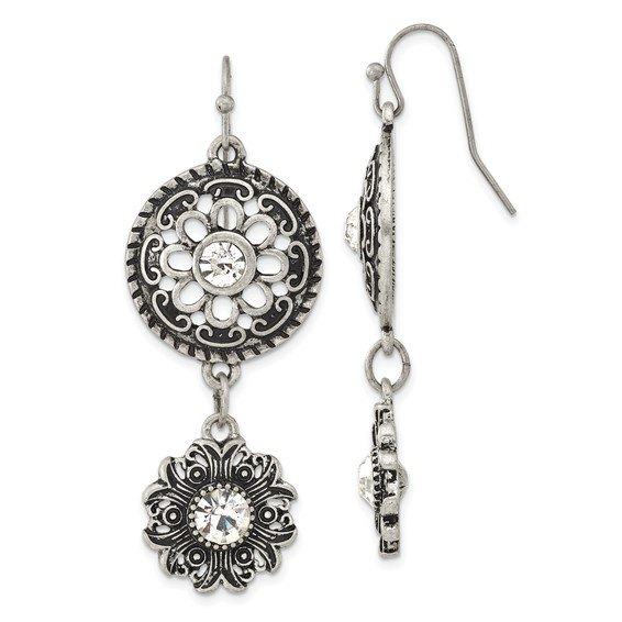 Silver-tone Double Drop Floral with Clear Crystal Dangle Earrings