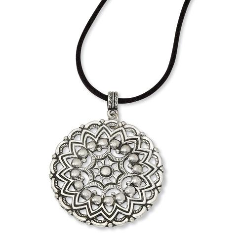 Silver-tone Sunbrust Pendant 16in Necklace