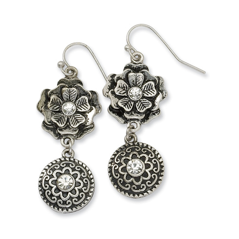 Silver-tone Double Drop Floral Discs with Clear Crystal Dangle Earrings