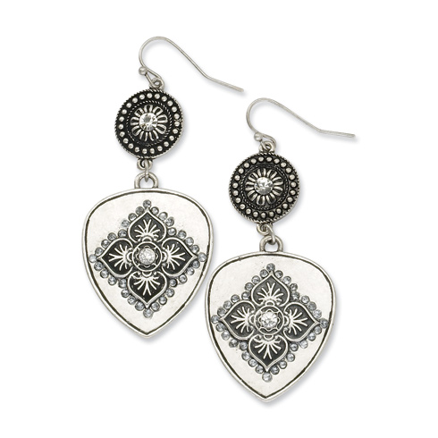Silver-tone Clear Crystal Floral Motif Dangle Earrings