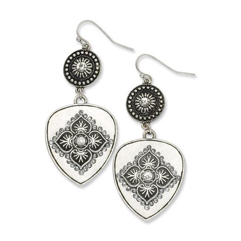 Silver-tone Clear Crystal Floral Motif Dangle Earrings