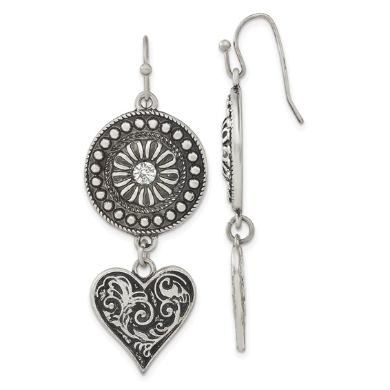 Silver-tone Heart and Sunburst with Clear Crystal Dangle Earrings