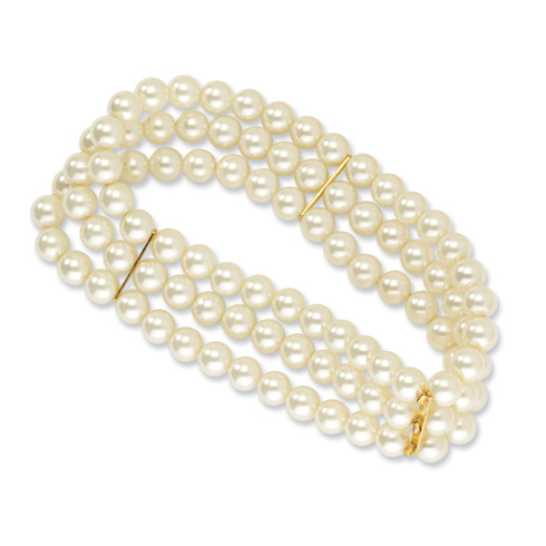 Gold-tone Cultura Glass Pearl Stretch Bracelet