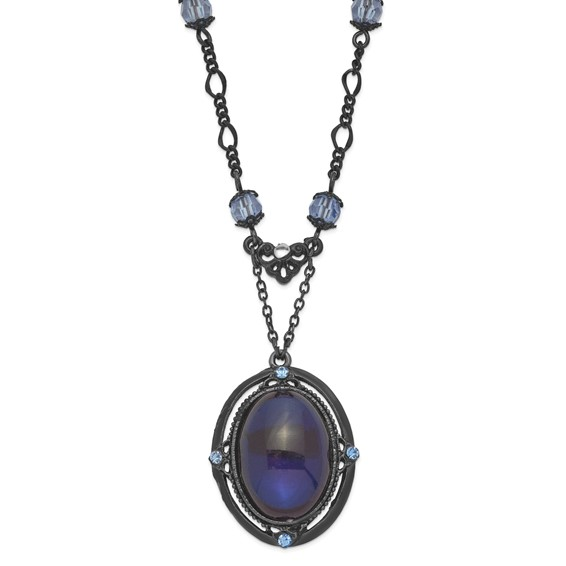 Black-plated Light and Dark Blue Crystal 16in Necklace