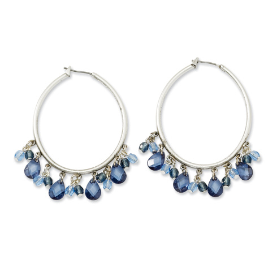 Silver-tone Light and Dark Blue Crystals Hoop Earrings
