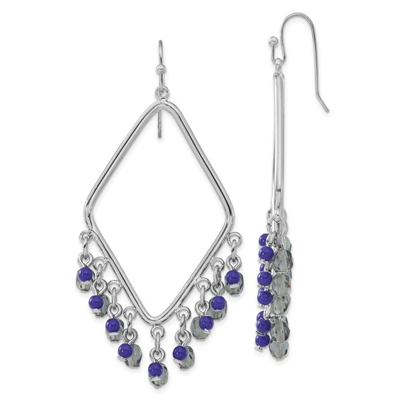 Silver-tone Sodalite and Blue Crystals Diamond Shaped Dangle Earrings