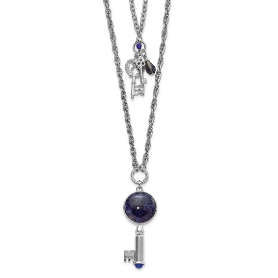 Silver-tone Sodalite and Blue Crystal Keys 26in Necklace