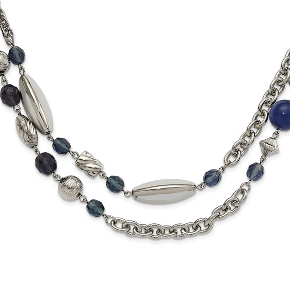 Silver-tone Blue Bead and Crystal 44in Necklace