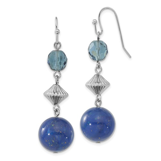Silver-tone Blue Bead and Crystal Dangle Earrings