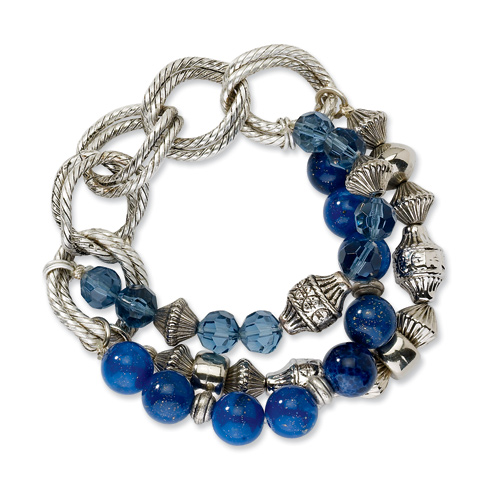 Silver-tone Blue Bead and Crystal Stretch Bracelet