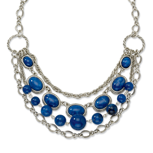 Silver-tone Blue Beads 16in Necklace