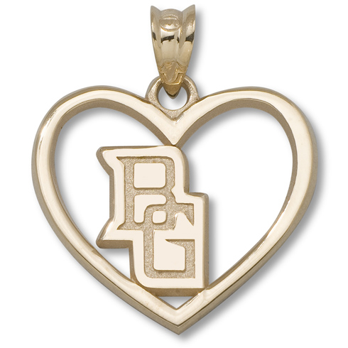 14kt Yellow Gold 5/8in Bowling Green Heart Pendant