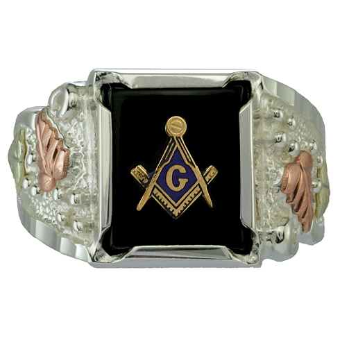 Sterling Silver Tri-color Black Hills Onyx Masonic Ring with Leaves