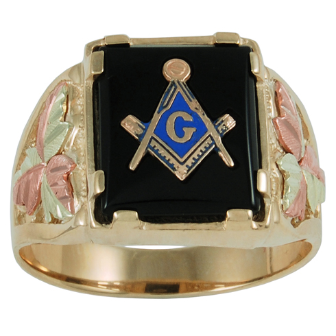 Tri-color Black Hills Onyx Masonic Ring - 10k Gold